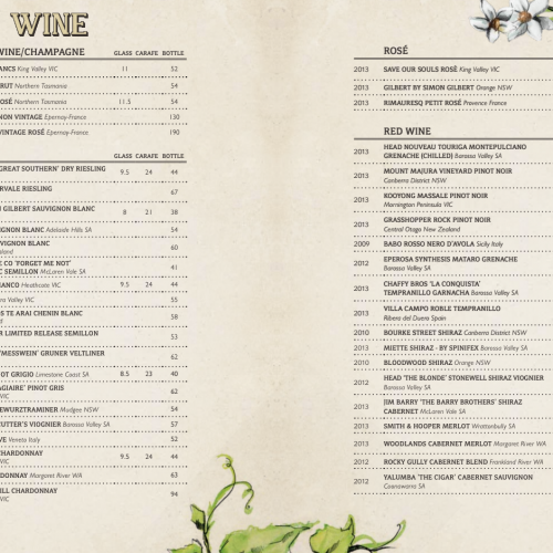 The Potting Shed wine list