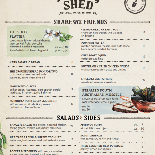 The Shed shared & sides