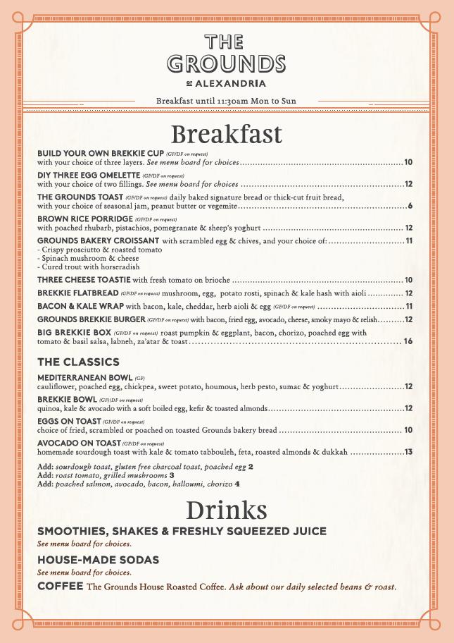 The Cafe Takeaway Breakfast Menu