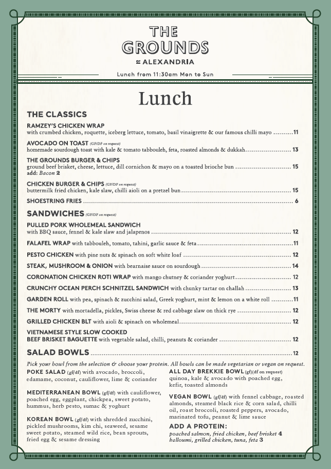 The Cafe Takeaway Lunch Menu