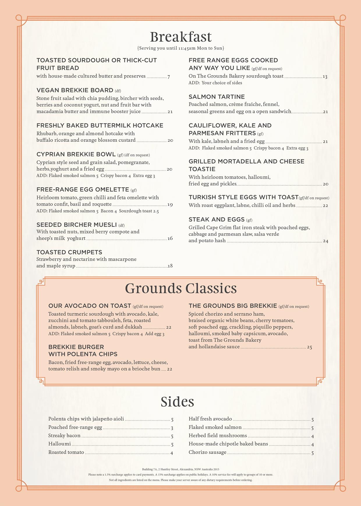 The Cafe Breakfast Menu Feb 2020 | The Grounds of Alexandria