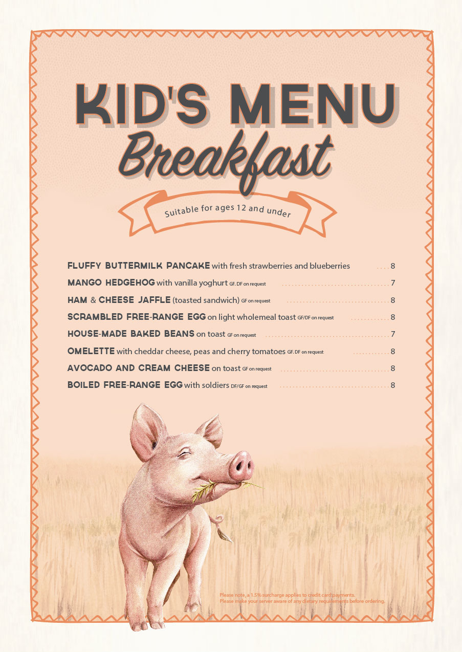 The Cafe Kids Breakfast Menu Nov 2019 | The Grounds of Alexandria