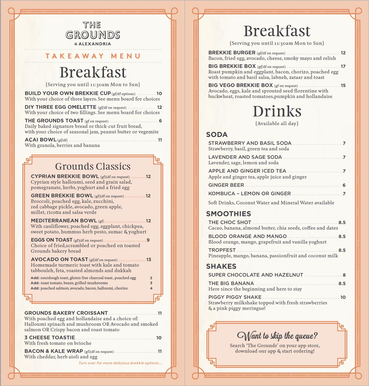 The Cafe Takeaway Breakfast Menu | The Grounds of Alexandria