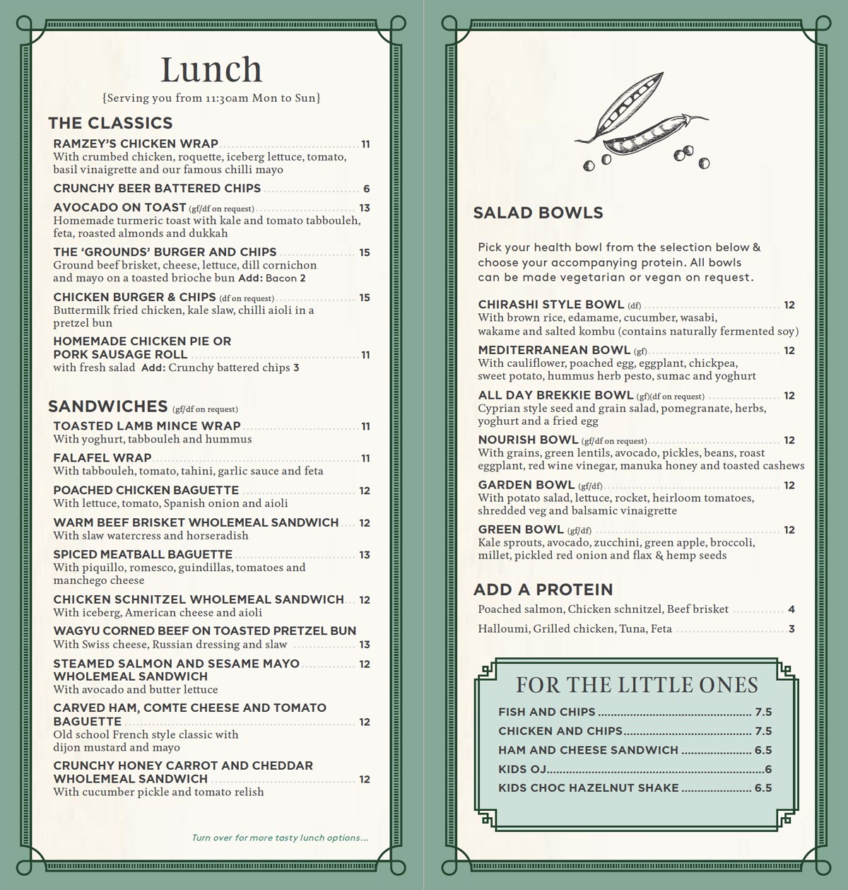 The Cafe Takeaway Lunch Menu | The Grounds of Alexandria