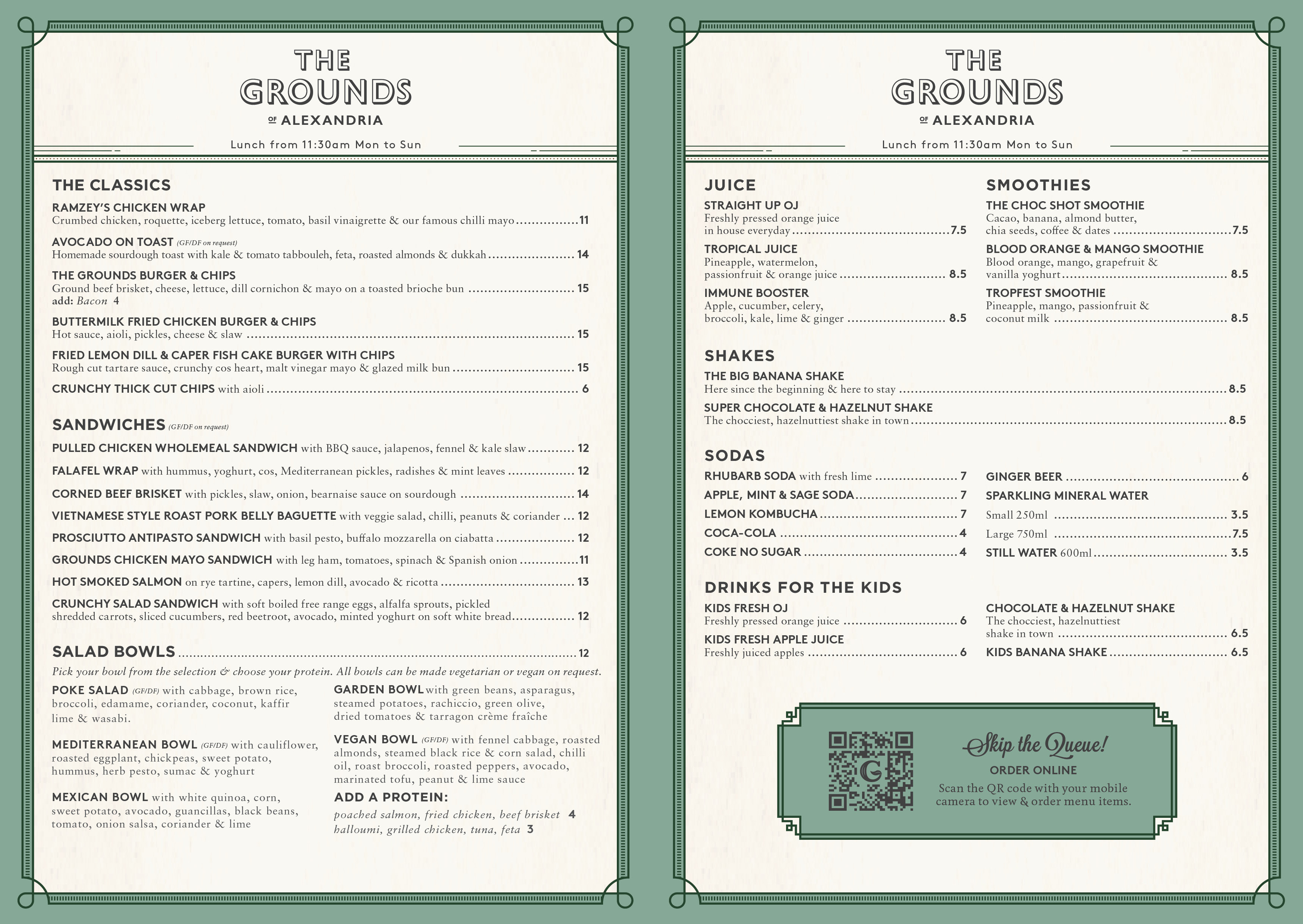 The Grounds of Alexandria :: The Cafe Takeaway Lunch Menu