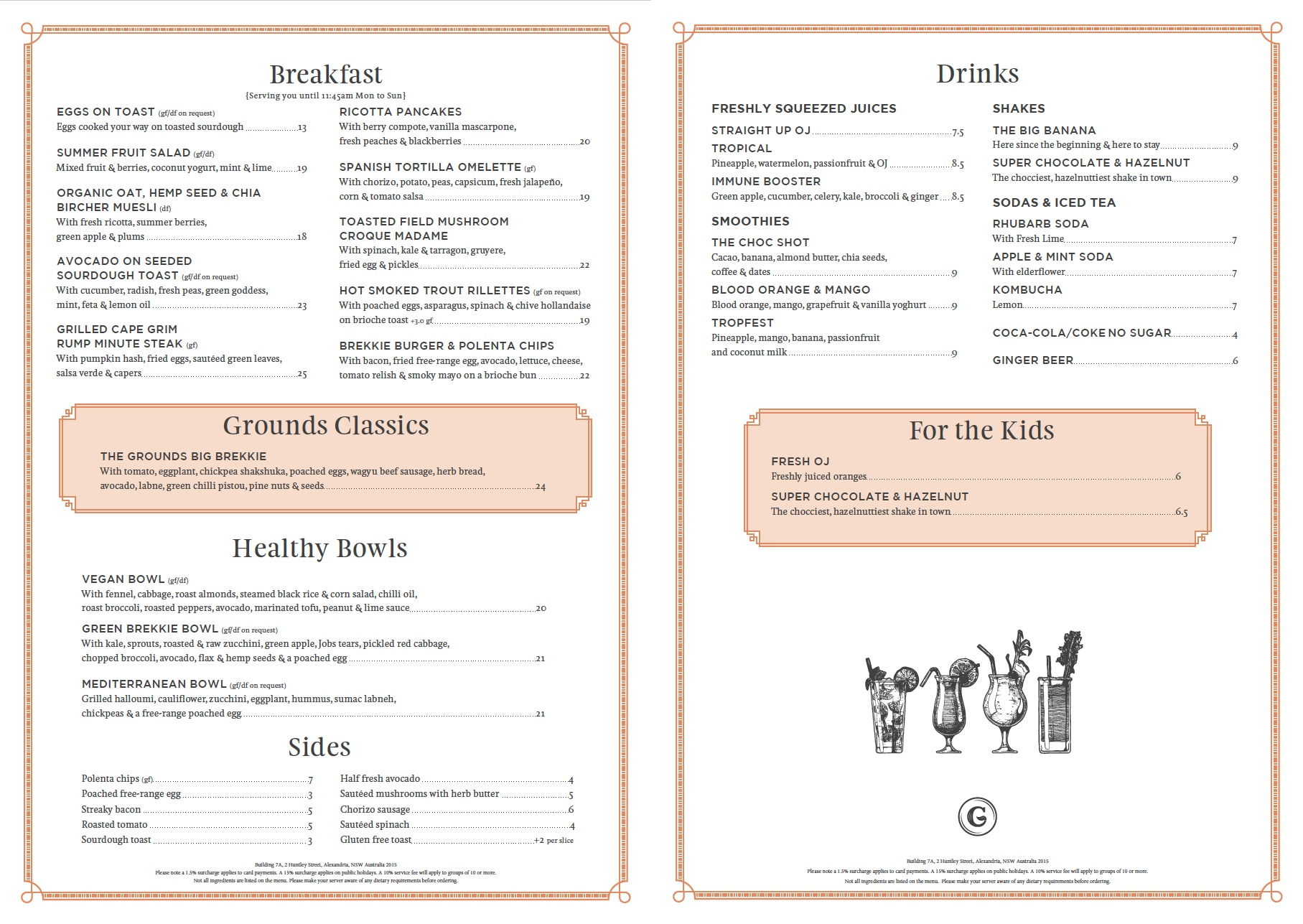 The Grounds of Alexandria: Cafe Dine-In Breakfast Menu