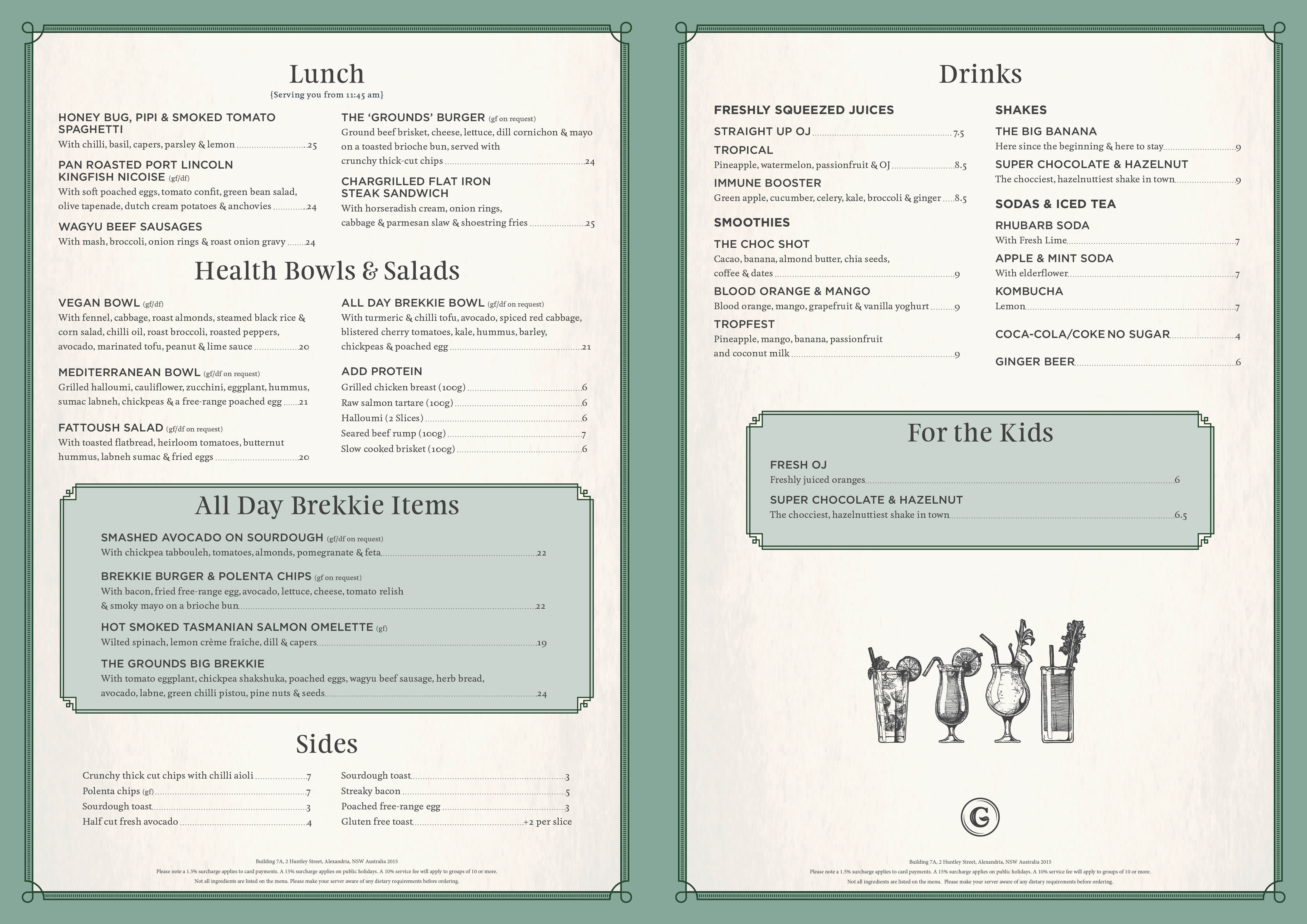The Grounds of Alexandria: Cafe Dine-In Lunch Menu