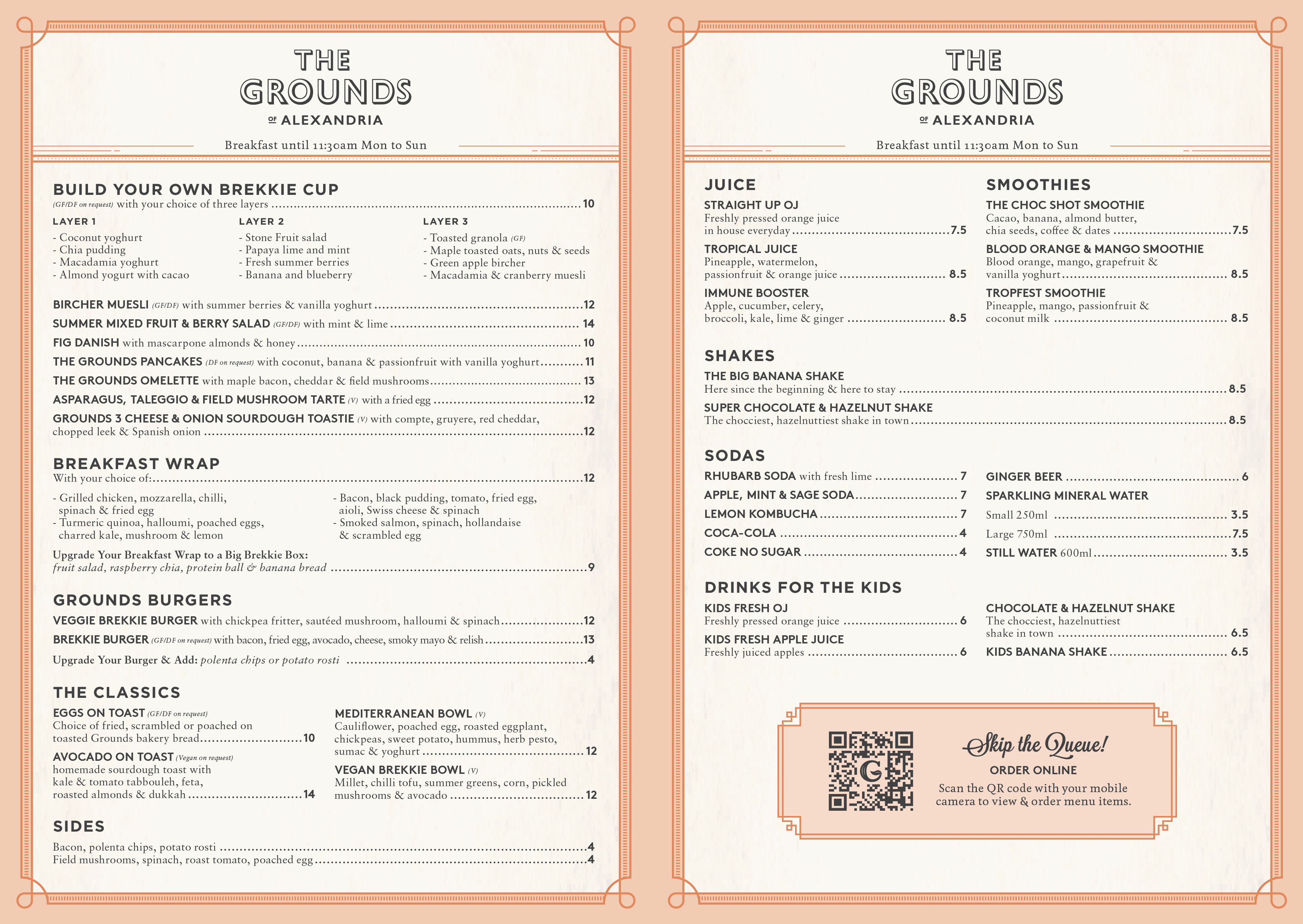 The Grounds of Alexandria :: The Cafe Takeaway Breakfast Menu