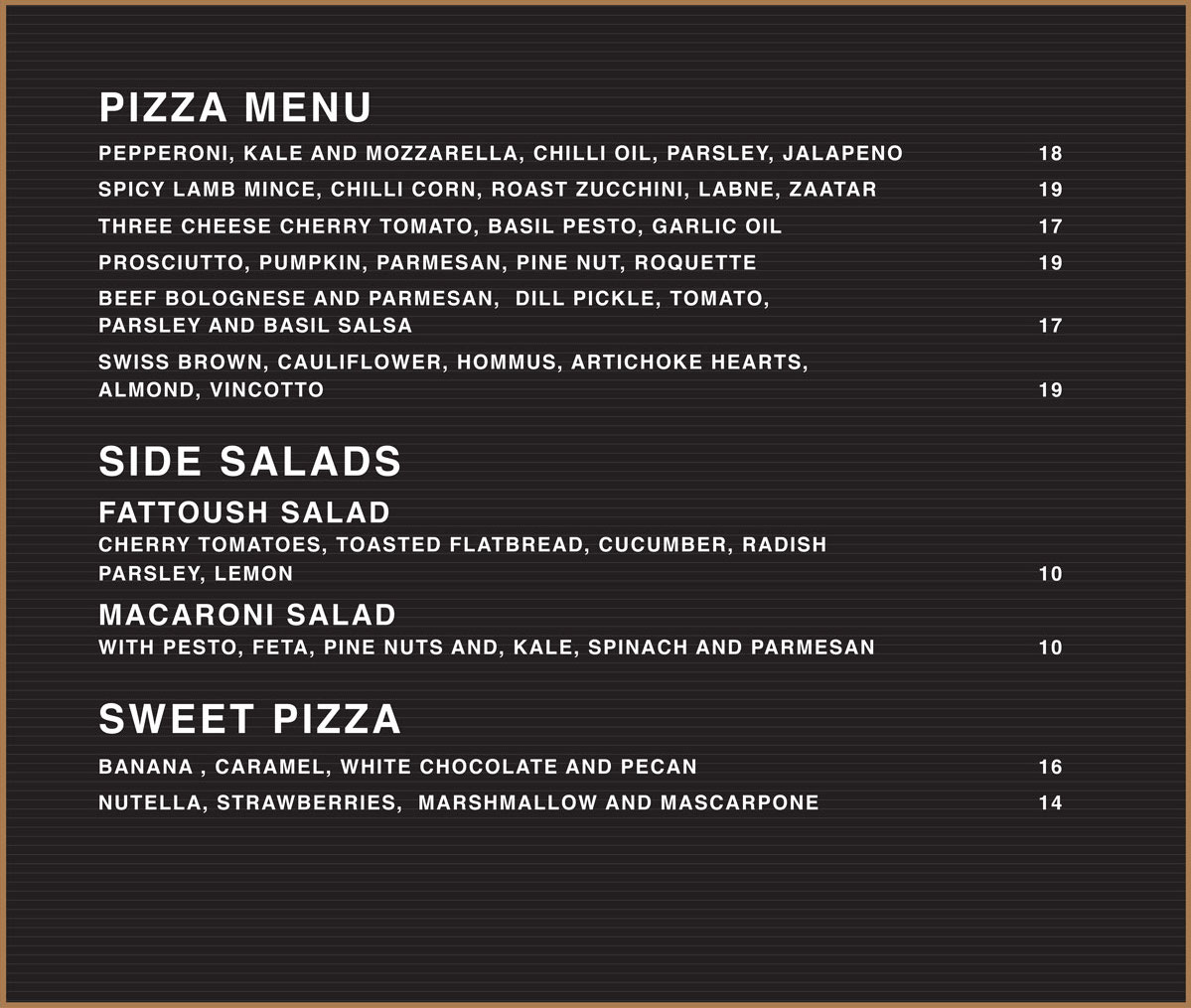 The Garden Pizza Menu | The Grounds of Alexandria