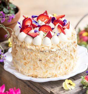 Strawberries & Cream Chiffon Cake