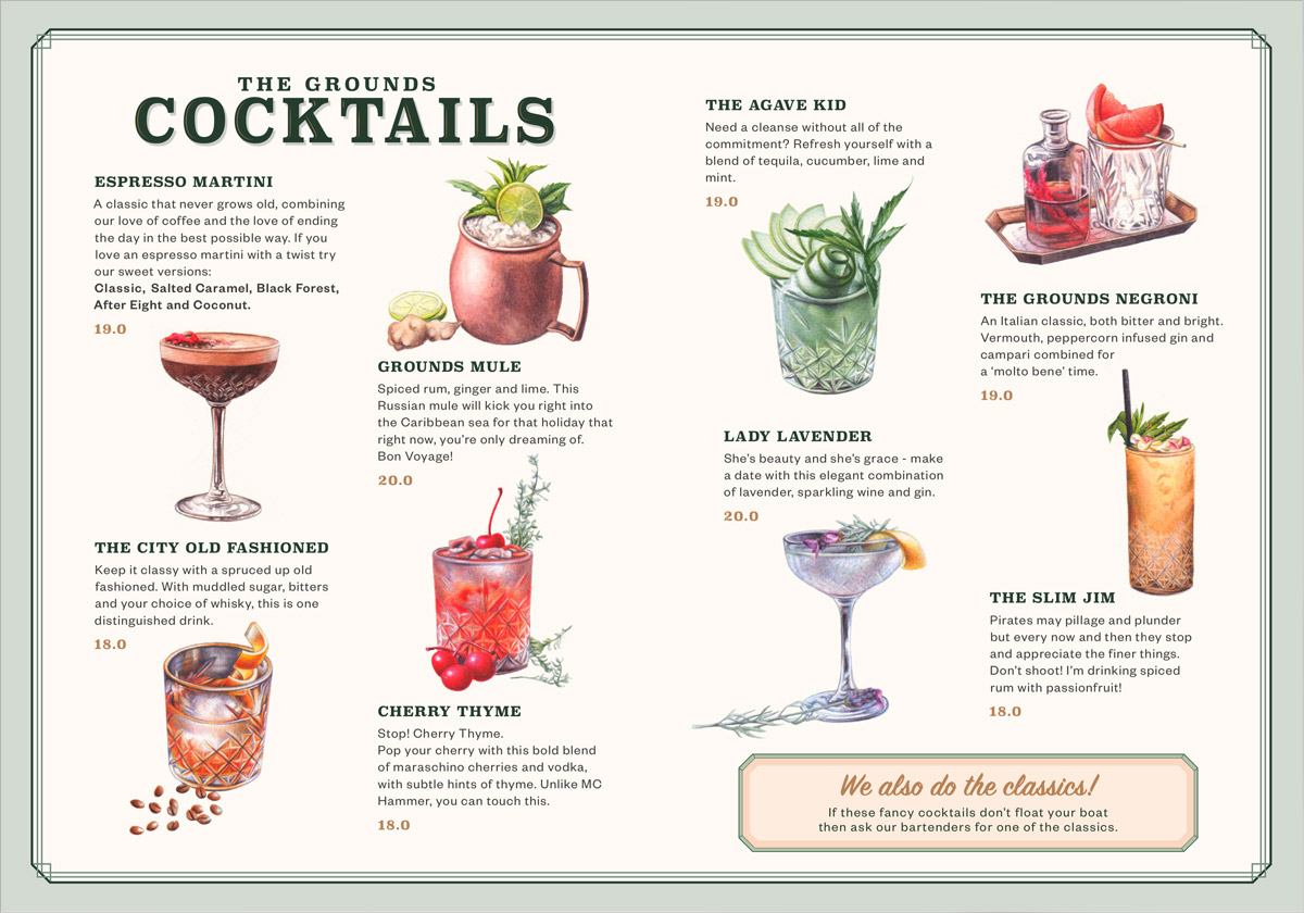 Cocktail Menu | The Grounds of the City