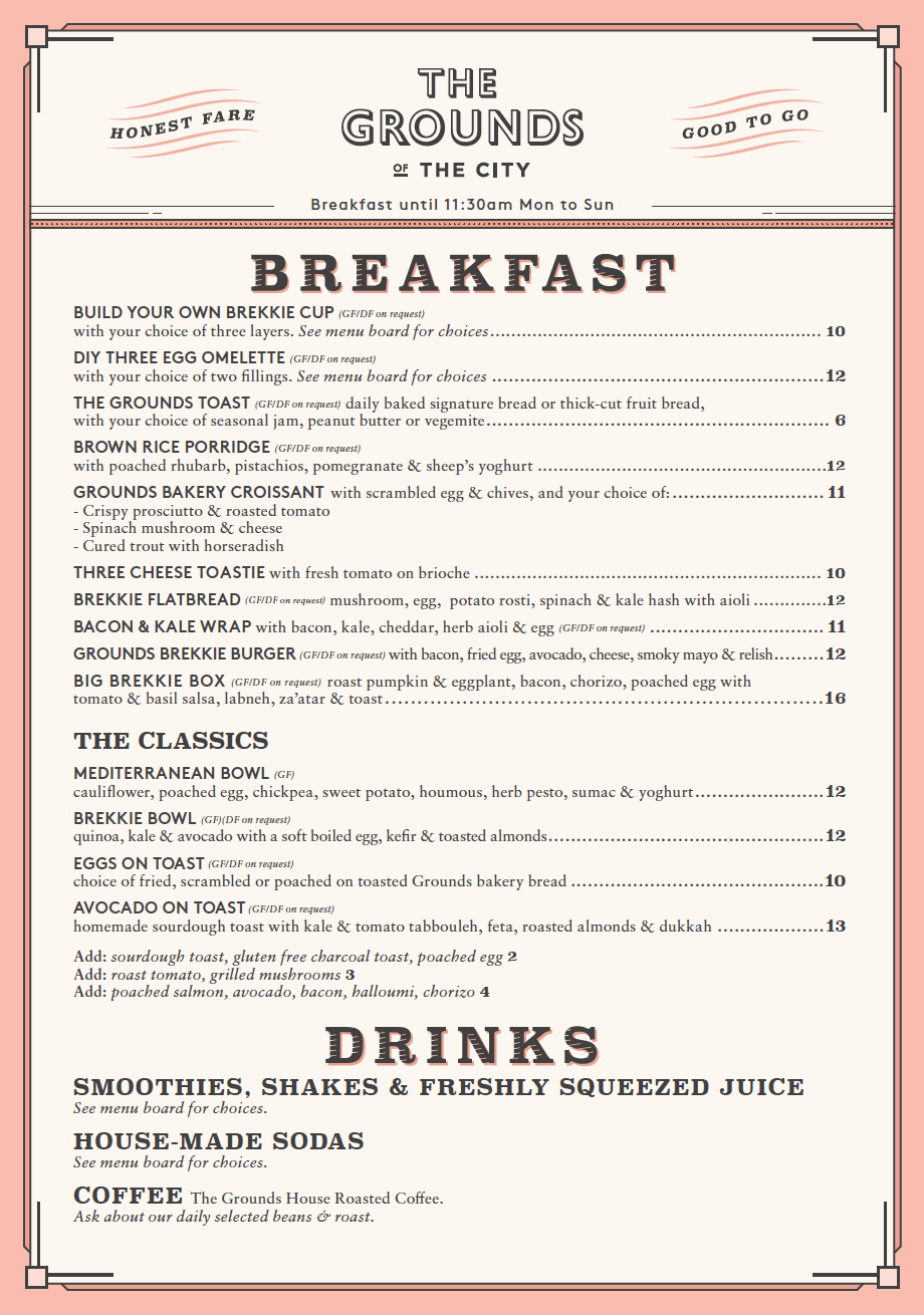 The Grounds of The City Takeaway Breakfast Menu
