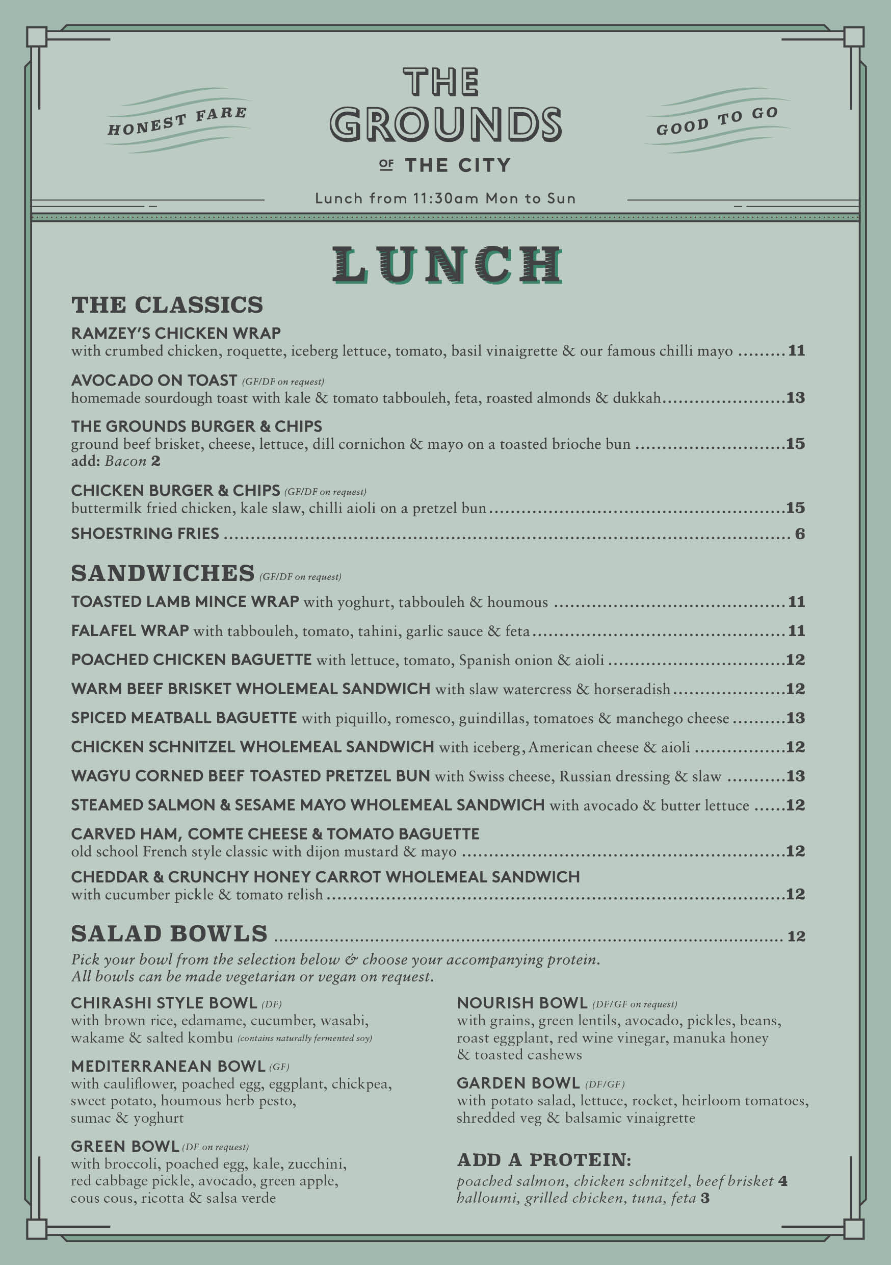 The Grounds of the City Takeaway Lunch Menu