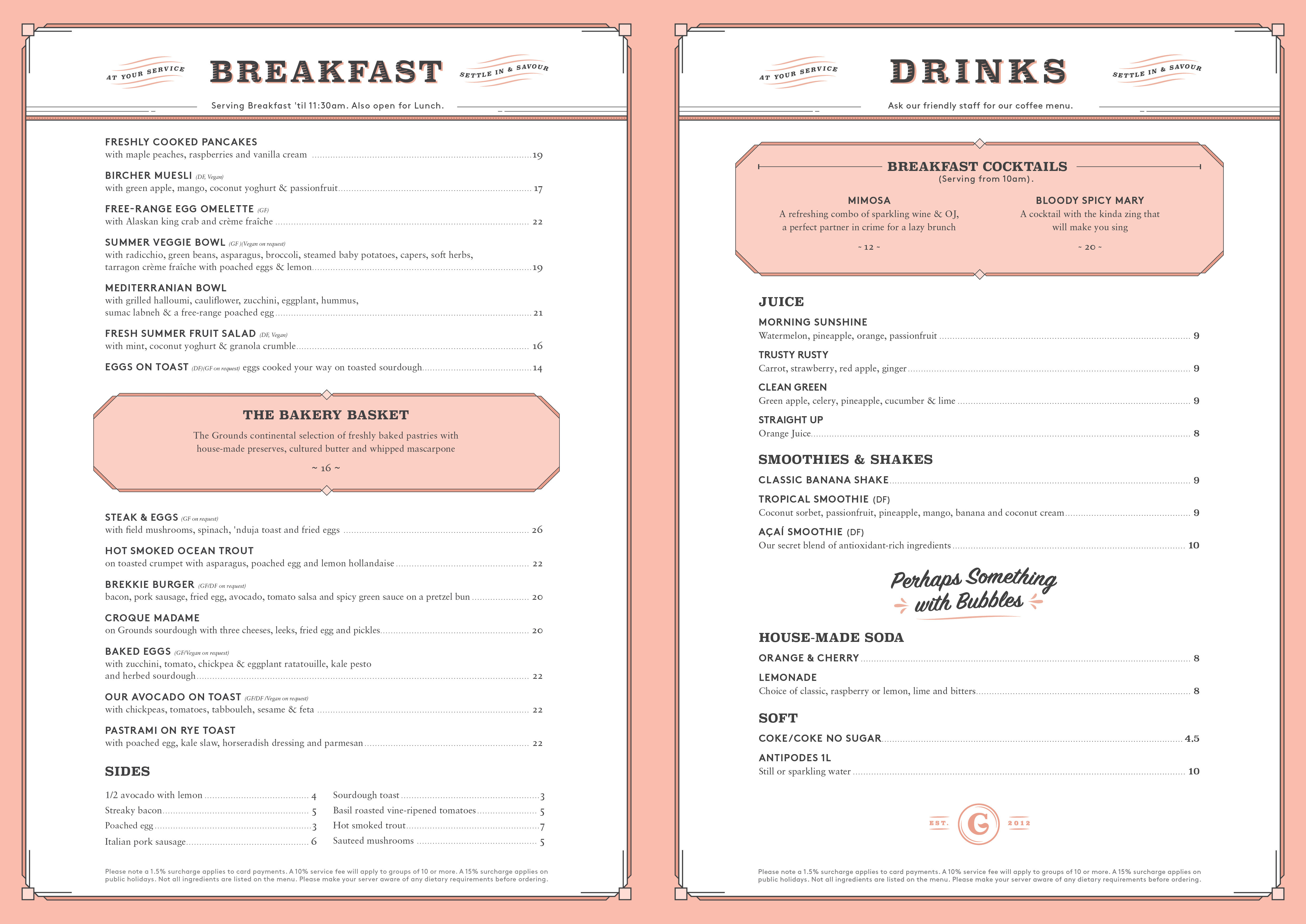 The Grounds of The City Dine-In Breakfast Menu