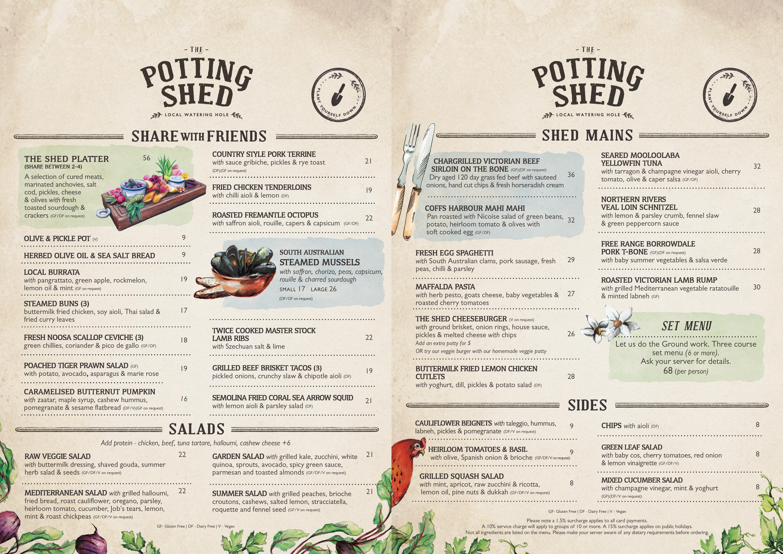 The Potting Shed Dine-In Menu