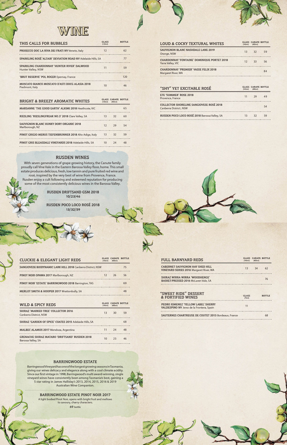 Wine List | The Potting Shed - The Grounds of Alexandria