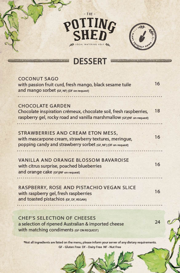 Potting Shed Dessert Menu | The Grounds of Alexandria