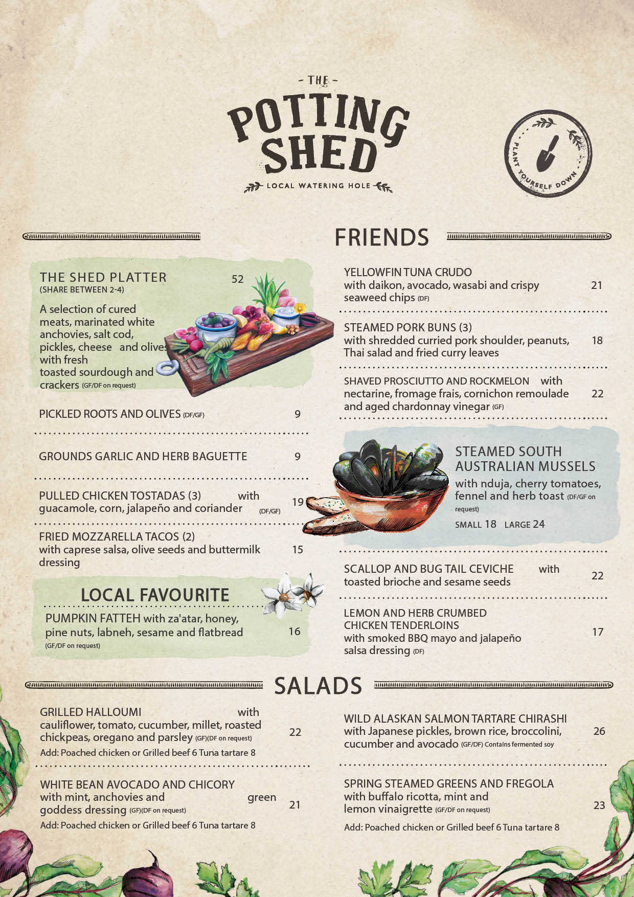 Potting Shed Menu pg1 | The Grounds of Alexandria
