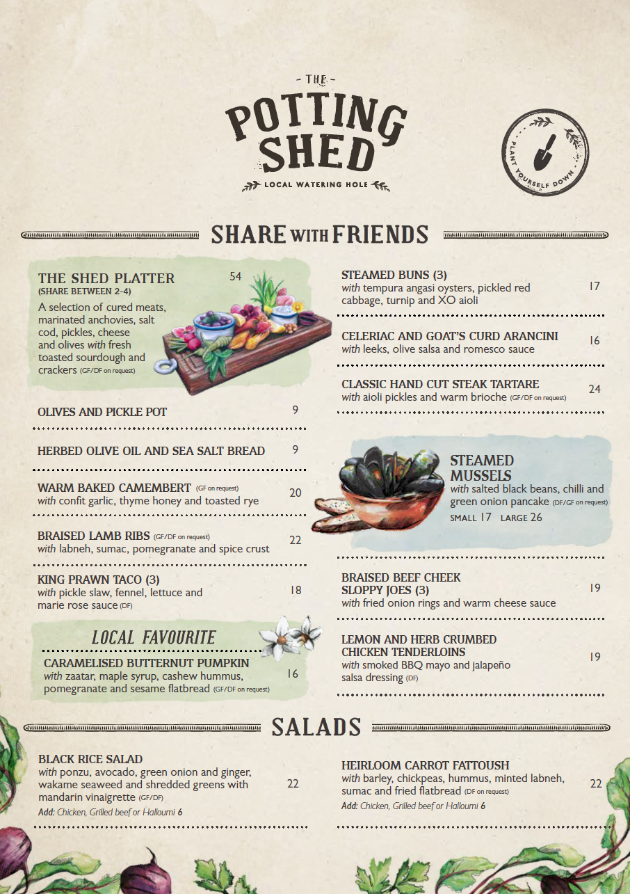 The Potting Shed Menu