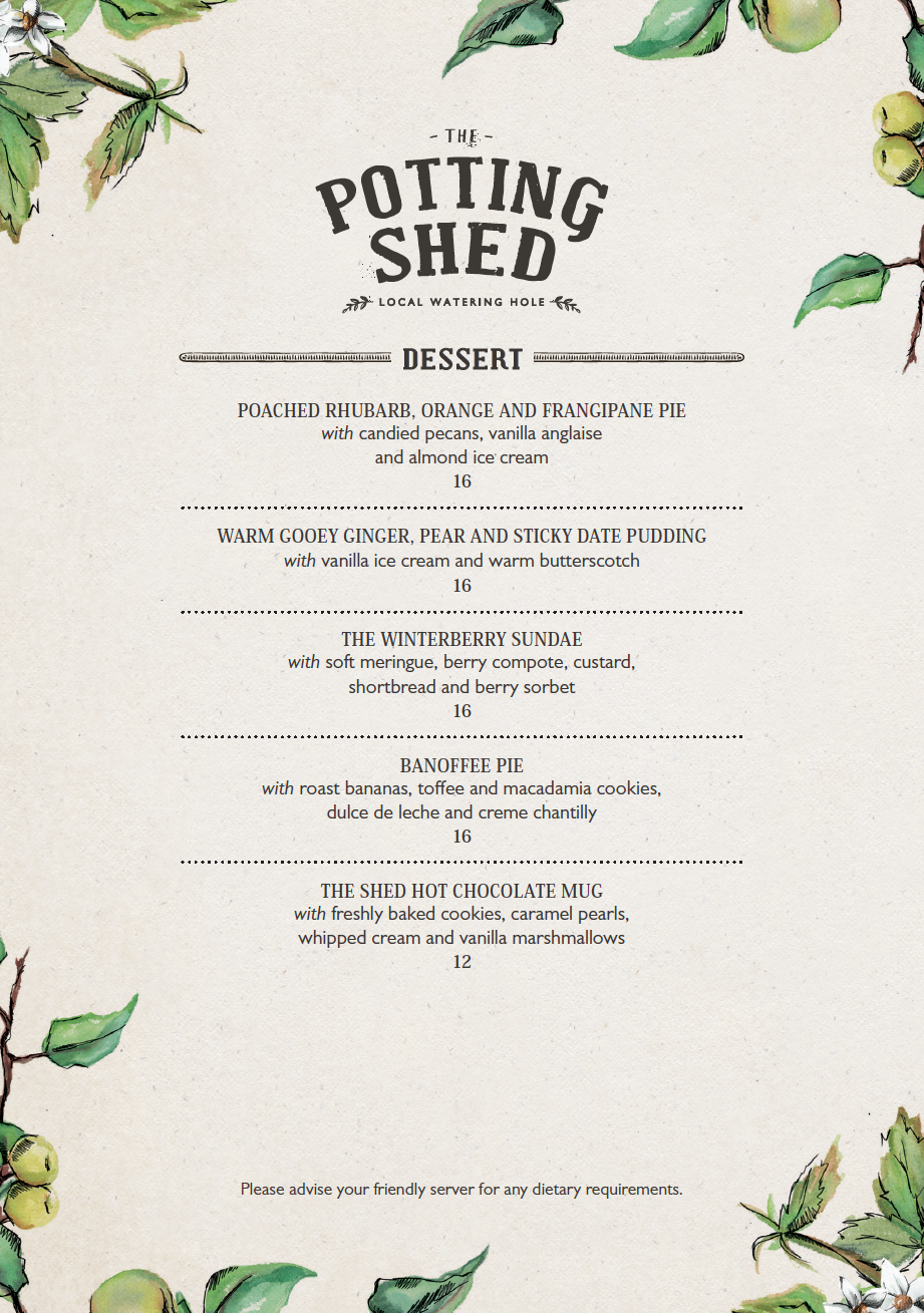 The Potting Shed Dessert Menu