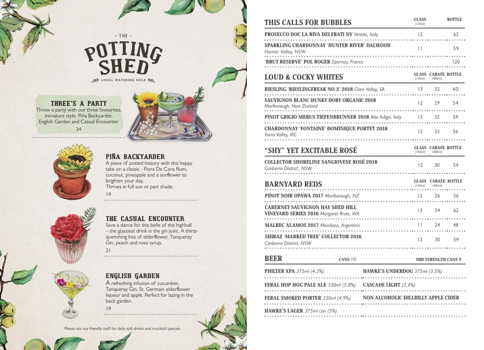 The Potting Shed Drinks Menu