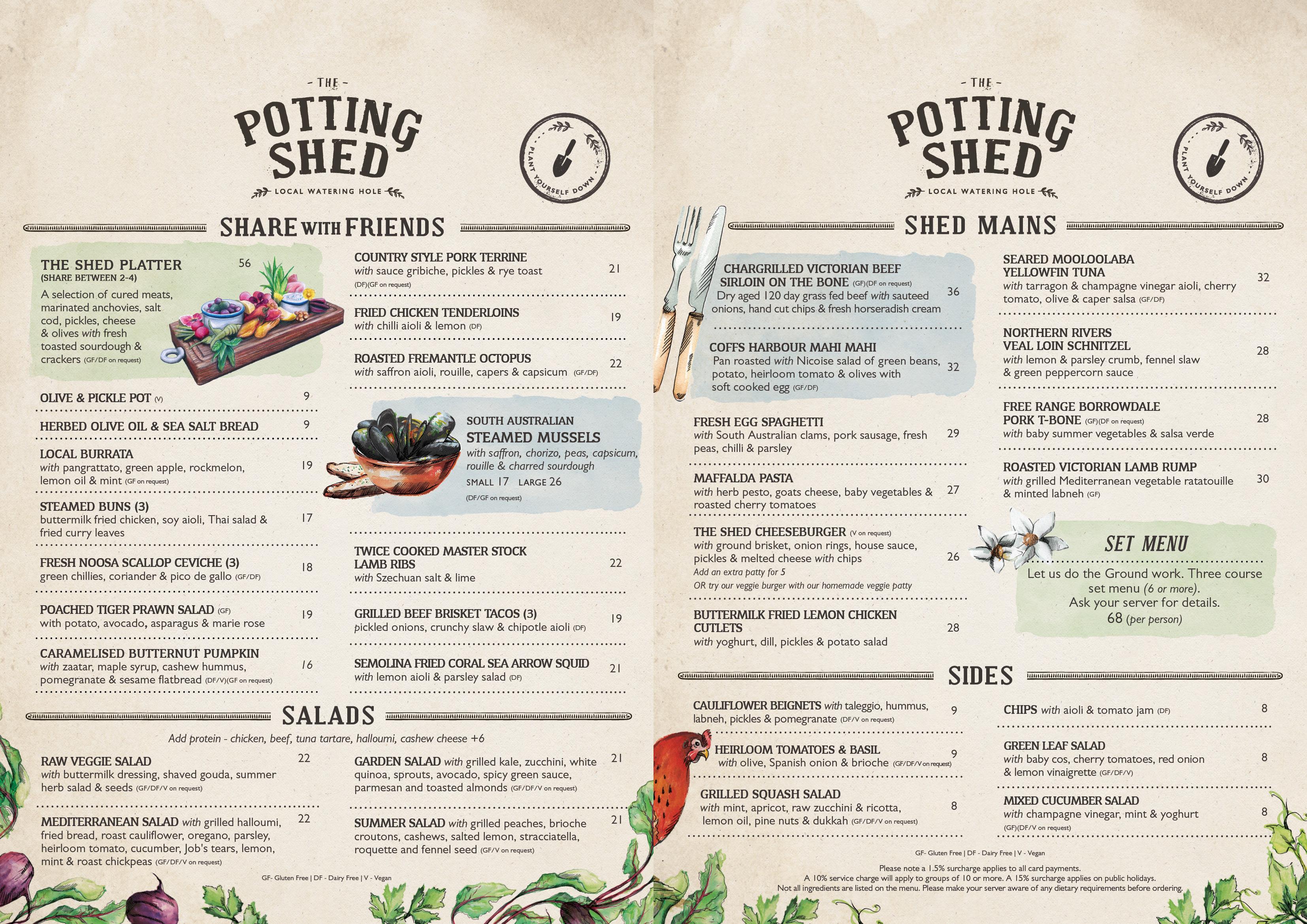 The Potting Shed :: Dine In Menu