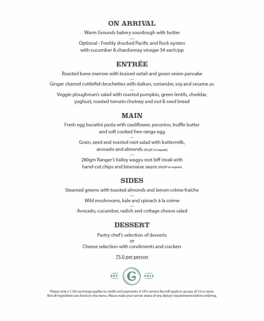 Set Menu | The Grounds of the City